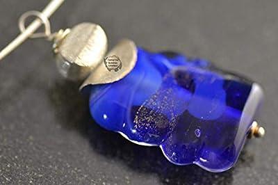 Pendentif bleu rectangulaire en verre et argent 925, perle en verre filé au chalumeau,bijoux de créateur,bijoux artisanaux