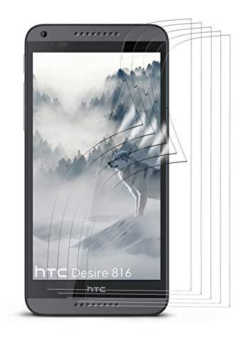 moex 5X HTC Desire 816 | Schutzfolie Klar Bildschirm Schutz [Crystal-Clear] Screen Protector Display Handy-Folie Dünn Bildschirmschutz-Folie für HTC Desire 816/816G Bildschirmfolie