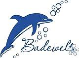 GRAZDesign 650146_30_052 Wandtattoo Delfin | Badezimmer-Aufkleber für Fliesen/Wände/Spiegel | WC/Toilette (41x30cm//052 azurblau)