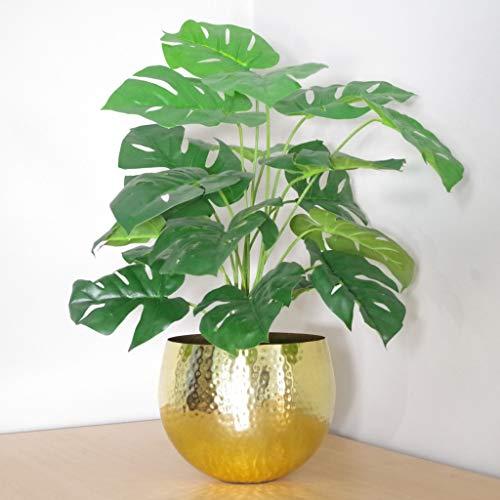 Leaf Planta Artificial Monstera Maceta Metal Dorado
