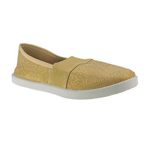 Gold effekt Slipper Damenslipper Damenschuhe 20011 Fashion4young Textil Stoffschuhe Metallic 6xP6wAvq