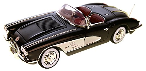 Chevrolet-Corvette-C1-schwarzsilber-1958-Modellauto-Motormax-118