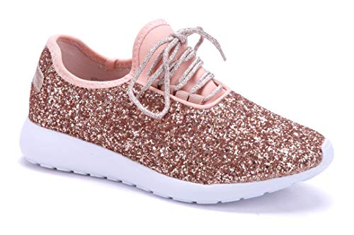 Schuhtempel24 Damen Schuhe Low Sneaker Bronze flach Glitzer