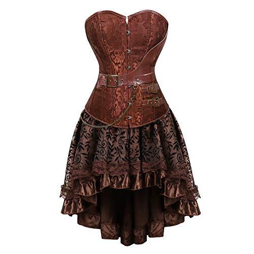 Grebrafan Plus Size Female Faux Leather Corset with Fluffy Pleated Layered Tutu Skirt (EUR(40-42)...