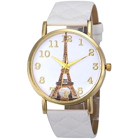 ZARU Las mujeres de cuero de imitación de la torre Eiffel de cuarzo analógico reloj de pulsera WH