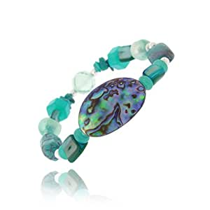 Sterling Silver Abalone, Pearl, Created Turquoise Chips & Nuggets Fashion Bracelet