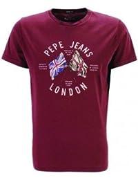 T-shirt PEPE JEANS DIRECTION FLAG BORDEAUX HOMME (L, BORDEAUX)