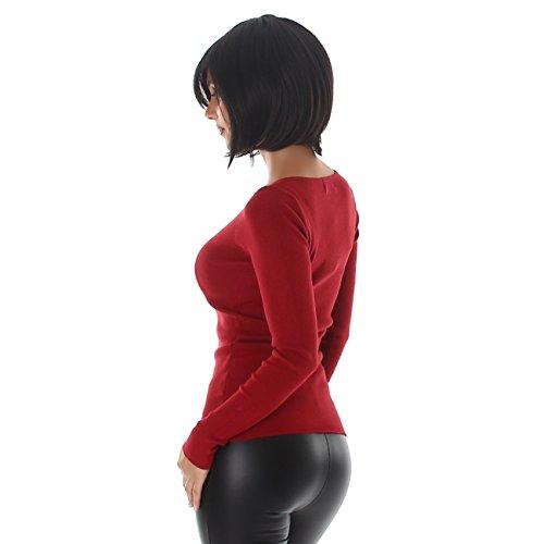 Voyelles Pullover Shirt Pullover Sweater Sweatshirt V-Neck Long Sleeve Uni Bordeaux