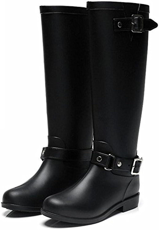 YYYUXIE Stivali da pioggia con cerniera da donna stivali da pioggia con fibbia stivali da moto Martin, nero, 38 | Alta qualità e basso sforzo  | Maschio/Ragazze Scarpa