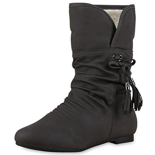 SCARPE VITA Warm Gefütterte Damen Stiefeletten Schlupfstiefel Flache Boots 150585 Grau 38