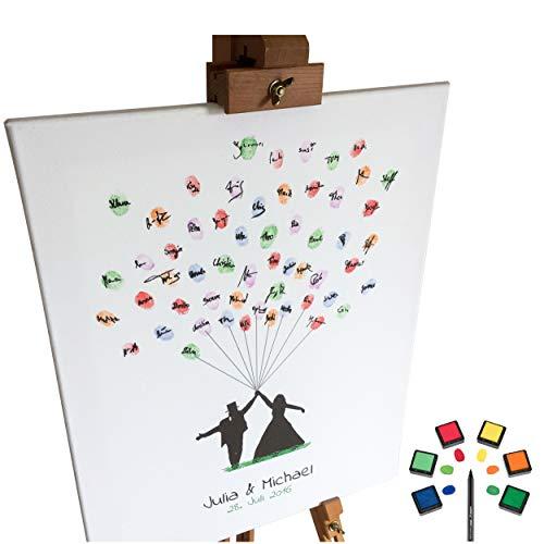 KATINGA Personalisierte Leinwand zur Hochzeit - Motiv BRAUTPAAR MIT Ballon - als Gästebuch für Fingerabdrücke (40x50cm, inkl. Stift + Stempelkissen)