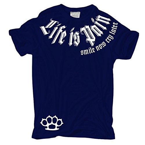 Männer und Herren T-Shirt Smile now Cry later (Weisse Serie) mit Rückendruck Dunkelblau