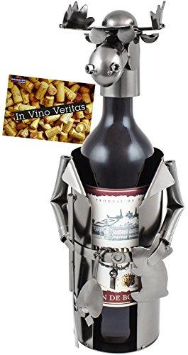 BRUBAKER Weinflaschenhalter Elch als Jäger Flaschenständer Deko-Objekt Metall mit Grußkarte für Weingeschenk -