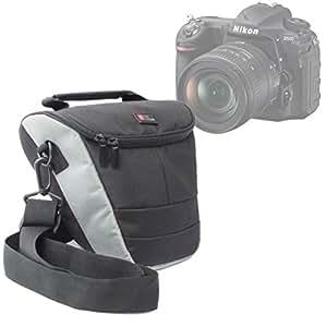Etui de protection moyenne + bandoulière réglable pour appareils photos SLR Nikon D600, D3300, D5300, D800, D600, D7100, D800 - noir / gris - bandoulière réglable
