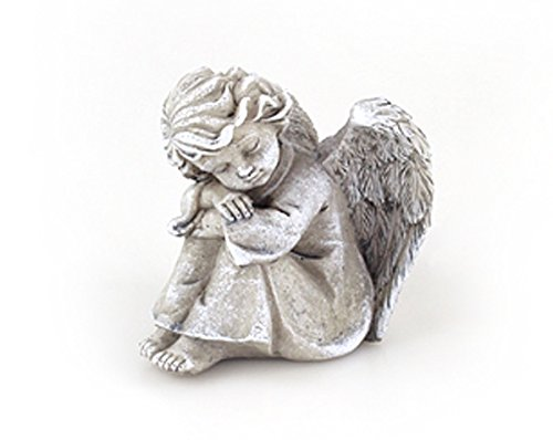Deko Engel Figur Schutzengel Grabengel Sitzend 12 x 10 x 11 cm, Polystein Steinoptik Grau, Dekoengel Grabschmuck Engelkind