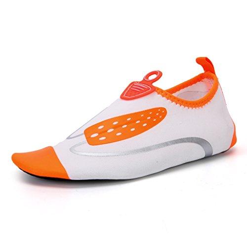 Unisex Aquaschuhe Strandschuhe Breathable Schlüpfen Schwimmschuhe Surfschuhe für Damen Herren Kinder Orange