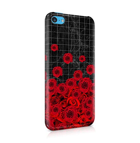 Black Striped Marble With Red Roses Apple iPhone 4 , iPhone 4S Snap-On Hard Plastic Protective Shell Case Cover Custodia Black Stripes