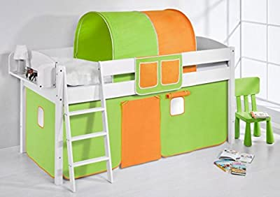 "Cama semi alta ""IDA BLANCA"" con cortinas convertible en cama baja - Verde / Naranja, 4105 Doble"
