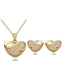 Crunchy Fashion Jewellery Gold Plated Stylish Party Wear Crystal/Zircon Heart Pendant Necklace, Earrings Set For...