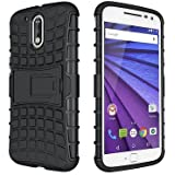 SnS Rugged, Armor, Defender, Hybrid Back Case Cover with Kickstand for Motorola Moto G4+ Plus