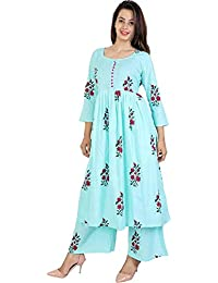 6TH Avenue Streetwear Vaastra Women's Cotton Kurti with Palazzo Pant