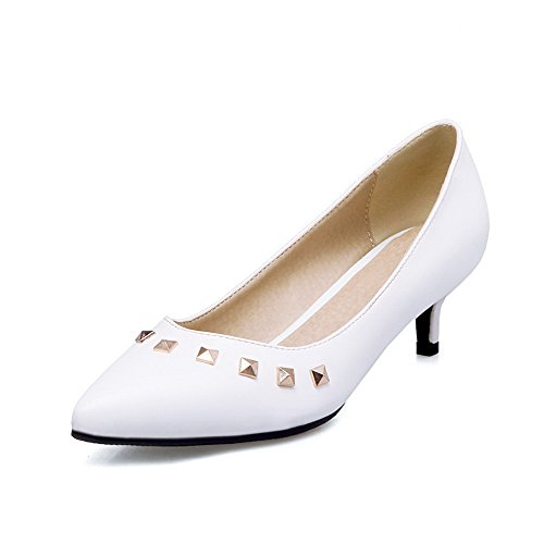Pointu Tire Unie Chaussures PU Cuir Correct Blanc à Talon Couleur VogueZone009 Femme Légeres zEqTxw8