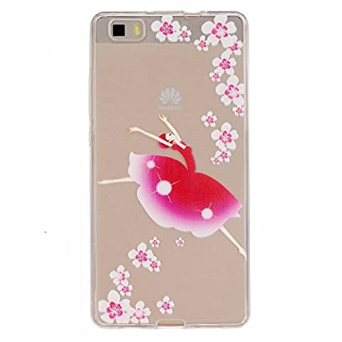 MUTOUREN Huawei P8 Lite case cover Fashion Design Protective Back Rubber Case Cover Shell Perfect Fitted flexible soft crystal clear, anti-shock anti-scratch with dancing girl flowers pink