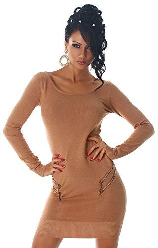 Damen Strickkleid & Pullover mit Zierreißverschlüssen Einheitsgröße (32-38), karamell