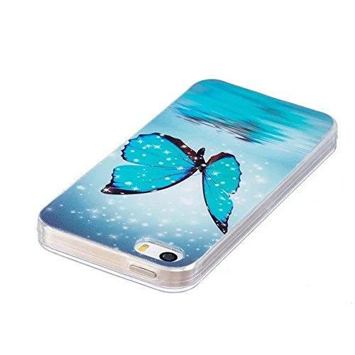[iPhone 6 Plus/6S Plus] Silicone Coque,Souple TPU Coque Housse de Téléphone pour iPhone 6 Plus/6S Plus,Etsue Peinture Style Ultra Mince Souple TPU Silicone Lumineux Fluorescents Dans Le Case Cover pou Papillon Bleu