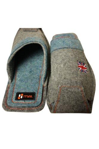 Weri Spezials Hommes Laine Drapeau Royaume-Uni Pantoufles Gris-Bleu Gris-Bleu