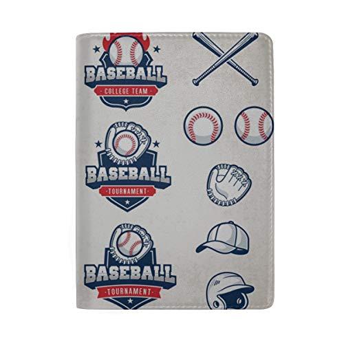 Baseball-Typografie-Embleme, Sport-Logos, Sperrung von Passinhabern-Abdeckungs-Etui Reisegepäck Passport Wallet Kartenhalter mit Leder für Männer, Frauen, Kinder, Familie