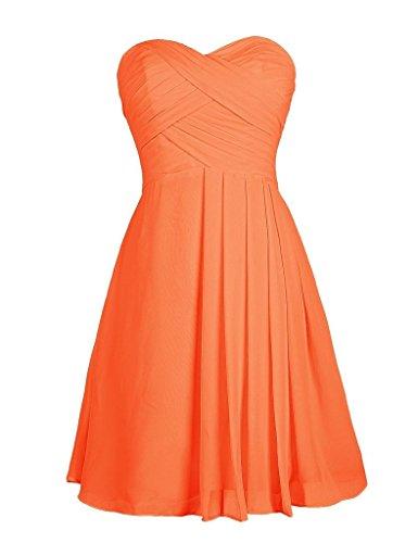 Eudolah Robe courte de soiree ceremonie cocktail Bustier bandeau plisse demoiselle d'honneur Femme Orange
