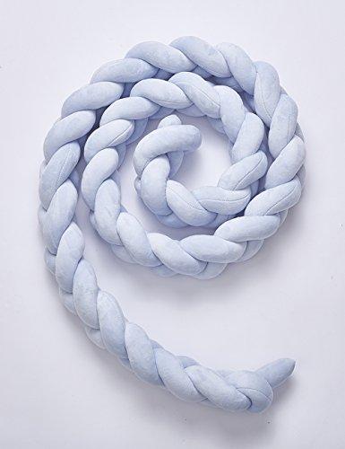 Weiches Baby Bett Kinderbett Nestchen Pads Bettwäsche-Set, Kissen Einfach Weave Design für Kinderzimmer Dekoration, blau, 1 m (König Tröster Set Blau)