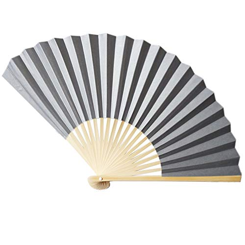 Andouy Retro Faltfächer/Handfächer/Papierfächer/Federfächer/Sandelholz Fan/Bambusfächer für Hochzeit, Party, Tanzen(23cm.S)