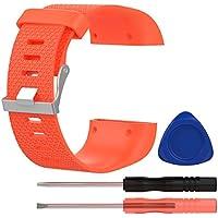 VORCOOL Banda de Correa para Fitbit Surge, Correa de Repuesto Fitbit Surge Watch Banda de muñeca Wriststrap Accesorios con Herramientas - Tamaño L (Naranja)
