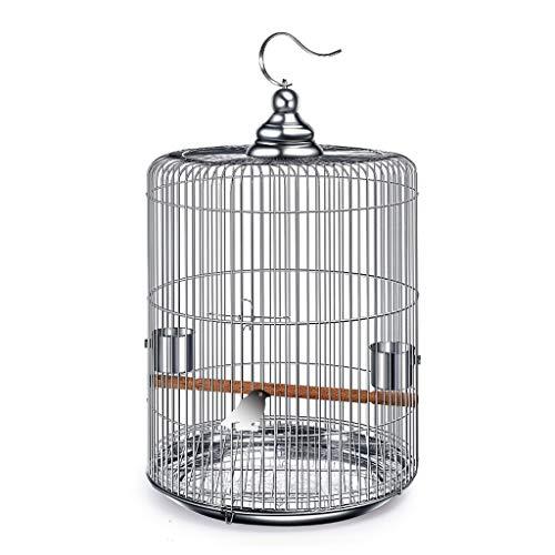 Jaula de pájaros de Acero Inoxidable Grande con Ganchos de Metal Puede colgarse en la Jaula de pájaros Redonda de Bird Villa al Aire Libre 6 Opciones de tamaño (tamaño : XXL)