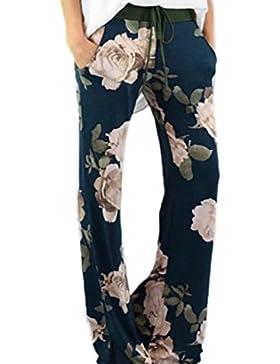 Jumojufol Women 's Summer Amplia Recto Flare Leg Mediados De Cintura Palazzo Floral Print Fitness Pantalon Largo...