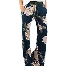 Women 's Summer Amplia Recto Flare Leg Mediados De Cintura Palazzo Floral Print Fitness Pantalon Largo Con Cinturón