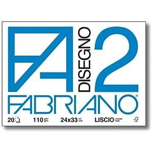 Fabriano F2 06200516, Album da Disegno, Formato 24 x 33 cm, Fogli Lisci, Grammatura 110gr/m2, 20 Fogli 1 spesavip