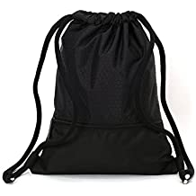 zenwow Gymsack–Mochila impermeable para de boxeo de entrenamiento de natación playa escuela niños niños niñas deporte saco Judo Netball gimnasio PE bolsa, 43x 35cm, negro