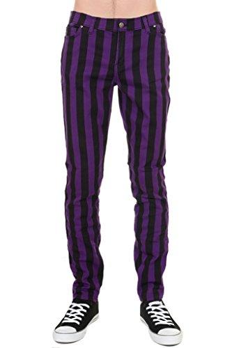 Run & Fly Mens Indie Vintage Retro 60s 70s MOD Black Purple Striped Stretch Skinny Jeans