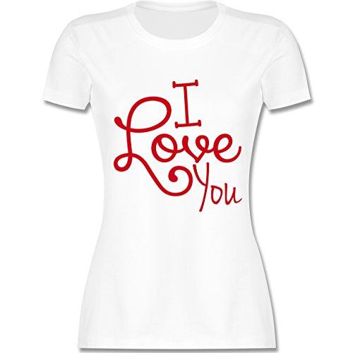 Statement Shirts - I Love You - tailliertes Premium T-Shirt mit Rundhalsausschnitt für Damen Weiß