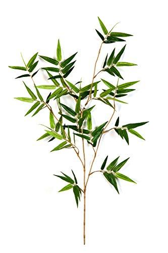 artplants Set 6 x Künstliche Japanische Bambuszweige Jotaro, 105 Blätter, grün, 60 cm – Kunst Zweige/Bambus Dekoration