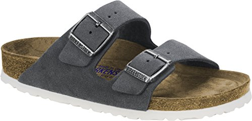 Birkenstock Classic Unisex-Erwachsene Arizona Leder Softfootbed Pantoletten, Grau (Stone), 40 EU