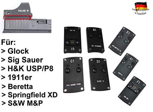 Schlittenmontage/Adapterplatte für Mini Red-Dot Reflexvisiere Falke M, Docter Sight Oder Meosight und Andere/für Kurzwaffen Glock, USP, SIG Sauer, 1911er, Beretta, Springfield, S&W Größe Glock