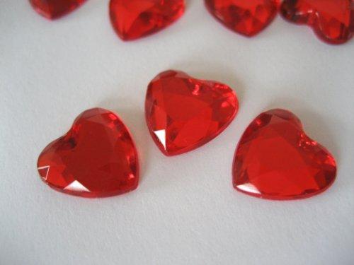 100Coriandoli Matrimonio Strass cristalli 12mm con retro piatto in argento, a forma di cuore Red
