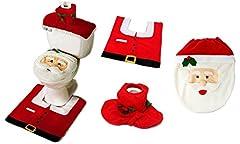 Idea Regalo - EGLEMTEK Completo da Bagno Natalizio con copriwater di Babbo Natale, Tappetino e portarotolo