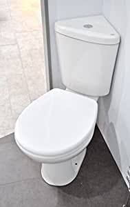 Ness Compact Bathroom Cloakroom Corner Space Saving Close Coupled Toilet Soft Close Quick Release Seat WC by E-PLUMB