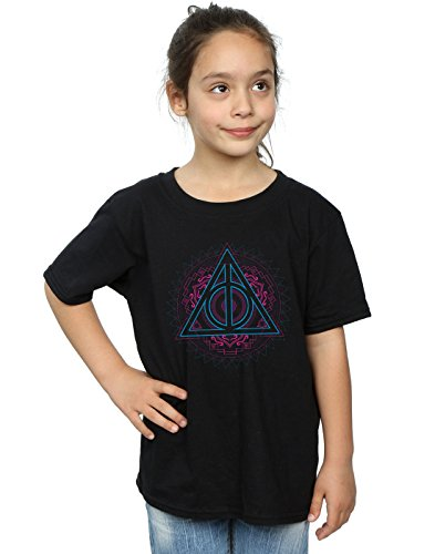 Absolute Cult Harry Potter Girls Neon Deathly Hallows T-Shirt