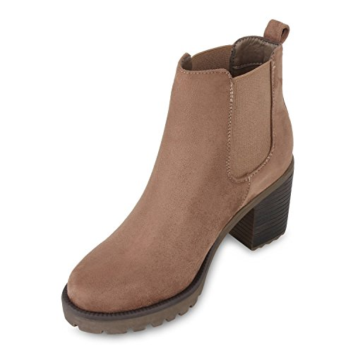 Damen Stiefeletten Chelsea Boots Profilsohle Schuhe Khaki